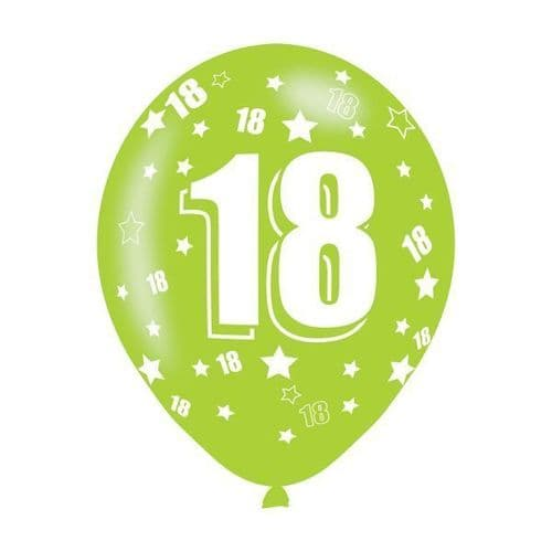 Age 18 Assorted Colours Latex Balloons