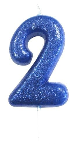 Age 2 Glitter Numeral Moulded Pick Candle Blue