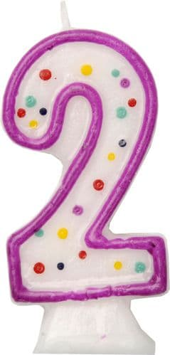 Age 2 Numeral Moulded Candle Purple