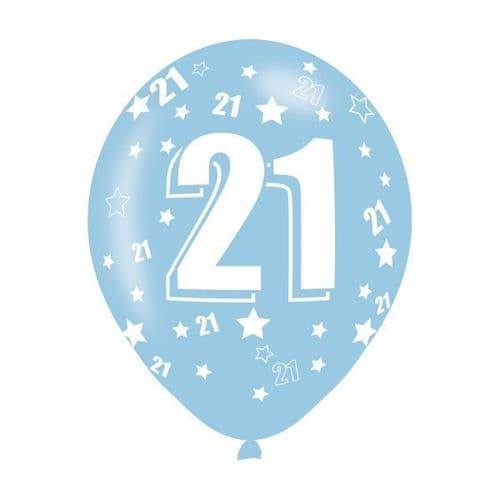 Age 21 Assorted Colours Latex Balloons
