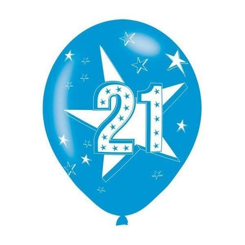 Age 21 Blue Latex Balloons