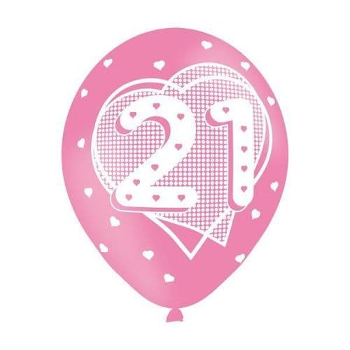 Age 21 Pink Latex Balloons