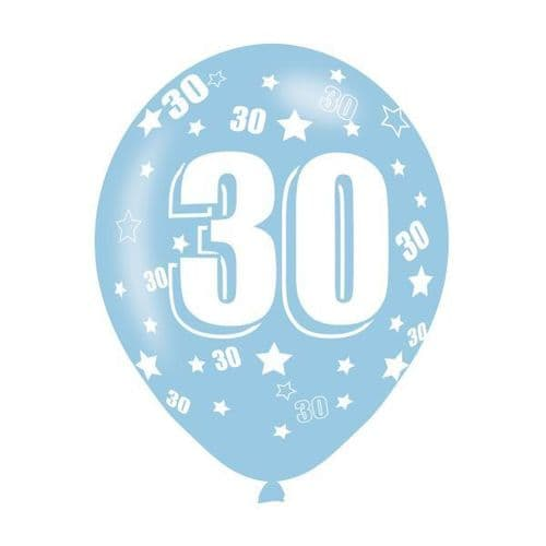 Age 30 Assorted Colours Latex Balloons