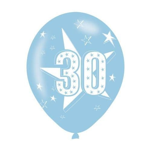 Age 30 Blue Latex Balloons