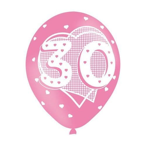 Age 30 Pink Latex Balloons