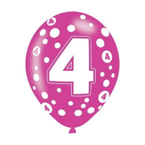 Age 4 Assorted Colours Latex Balloons