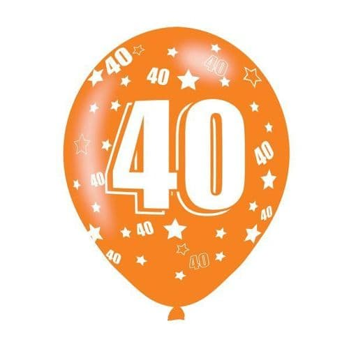 Age 40 Assorted Colours Latex Balloons