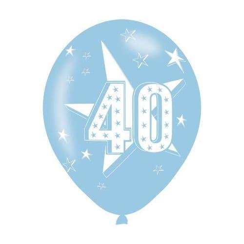 Age 40 Blue Latex Balloons