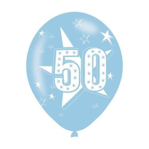 Age 50 Blue Latex Balloons