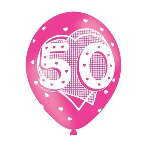 Age 50 Pink Latex Balloons