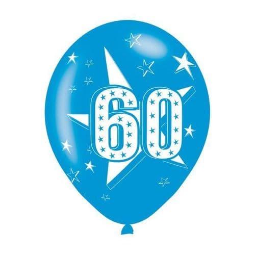 Age 60 Blue Latex Balloons