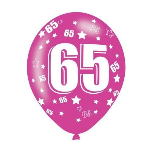 Age 65 Assorted Colours Latex Balloons