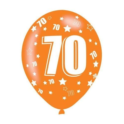 Age 70 Assorted Colours Latex Balloons