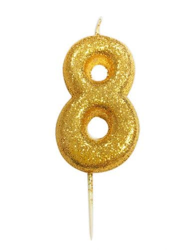 Age 8 Glitter Numeral Moulded Pick Candle Gold