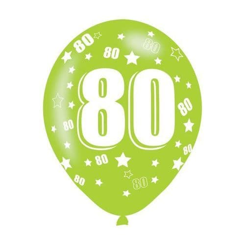 Age 80 Assorted Colours Latex Balloons