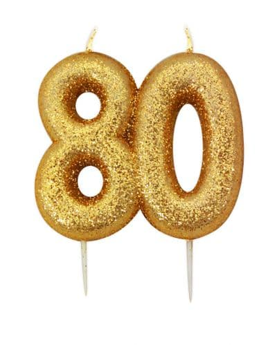 Age 80 Glitter Numeral Moulded Pick Candle Gold