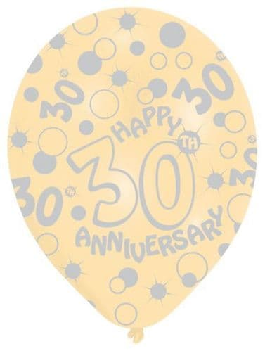 All Round Printed 30th Pearl Anniversary Latex Balloons