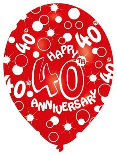 All Round Printed 40th Ruby Anniversary Latex Balloons