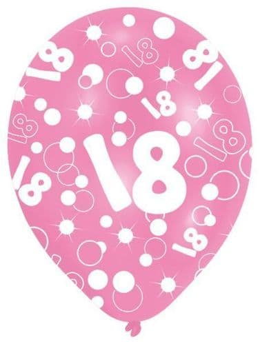 All Round Printed Age 18 Pink Latex Balloons