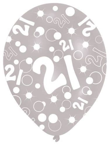 All Round Printed Age 21 Latex Balloons