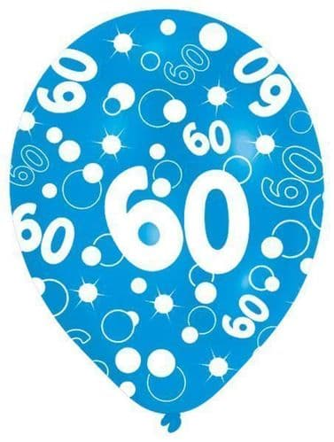 All Round Printed Age 60 Latex Balloons