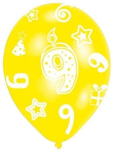 All Round Printed Age 9 Latex Balloons
