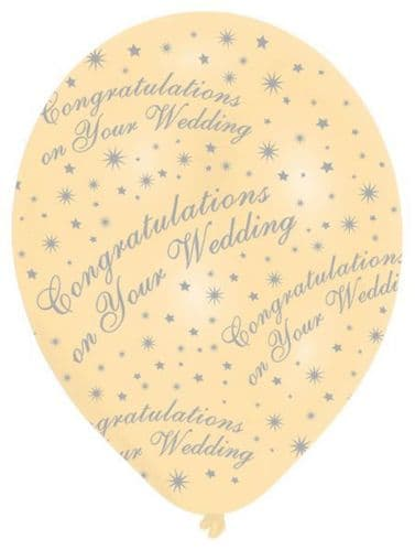 All Round Printed Congratulations on your Wedding Pearl Ivory Latex Balloons 6's