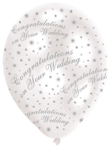 All Round Printed Congratulations on your Wedding Pearl White Latex Balloons