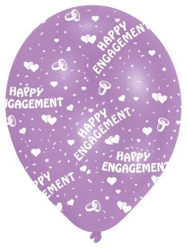 All Round Printed Engagement Latex Balloons 6's