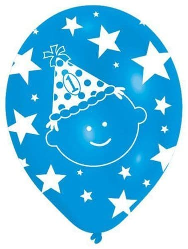 "All Round Printed First Birthday Boy Latex Balloons 6 x 11"""