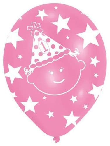 """All Round Printed First Birthday Girl Latex Balloons Packet of 6 x 11"""""""