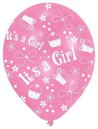 """All Round Printed It's a Girl Latex Balloons Packet of 6 x 11"""""""