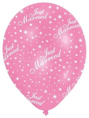 All Round Printed Just Married Pearl Pink Latex Balloons