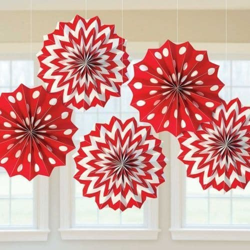 Apple Red Dots & Chevron Paper Fans 20cm pack of 5.