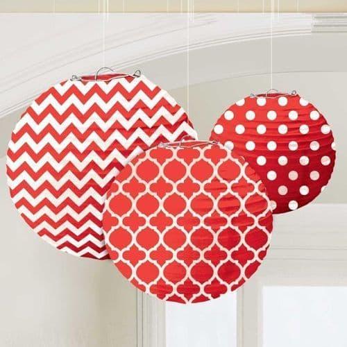 Apple Red Dots & Chevron Round Lanterns 24cm pack of 3.