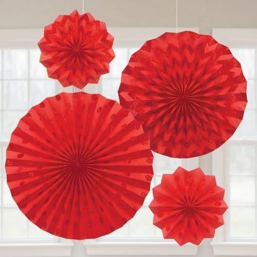 Apple Red Glitter Paper Fans/4