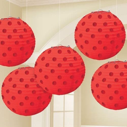 Apple Red Hot Stamped Paper Lanterns 12cm pack of 5.