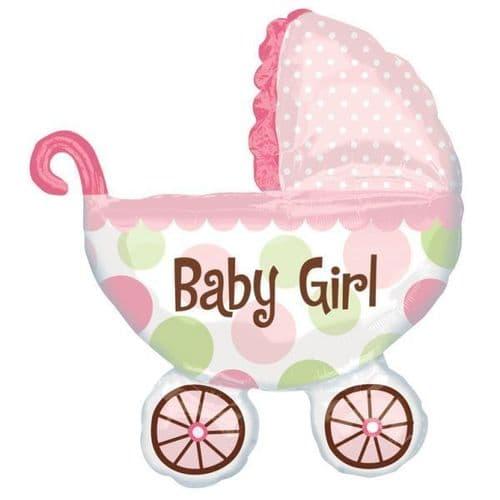 """Baby Buggy Girl SuperShape Foil Ballooon 28"""" x 31"""""""
