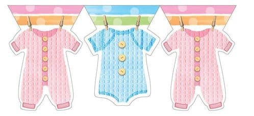 Baby Clothes Plastic Flag Banner 12ft