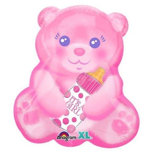Baby Girl Bear it Bottle Jnr Shape Foil Balloon