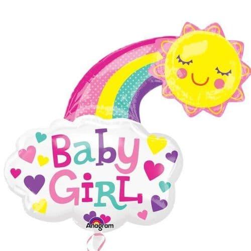 "Baby Girl Bright Happy Sun SuperShape Foil Balloon 30"" x 30"""