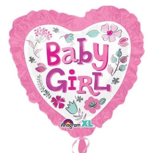 Baby Girl Heart Ruffle SuperShape Foil Balloon