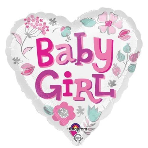 Baby Girl Heart Standard Foil Balloon