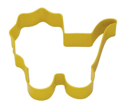 Baby's Pram Poly-Resin Coated Cookie Cutter Yellow