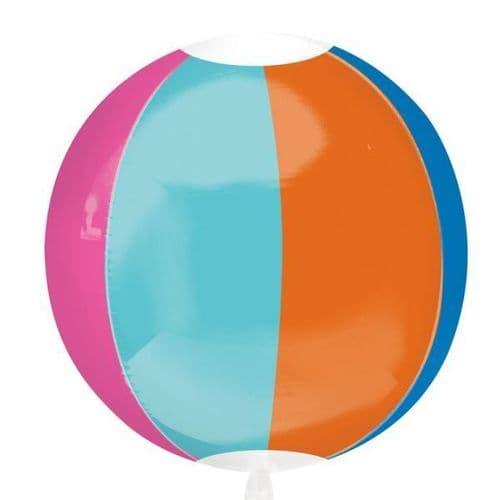 """Beach Ball Orbz Foil Balloon 15"""" x 16"""""""
