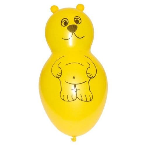 Bear Shaped Yellow Latex Balloons 4 per pack.