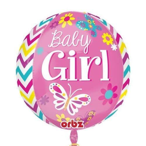 "Beautiful Baby Girl Orbz Foil Balloon 15"" x 16"""