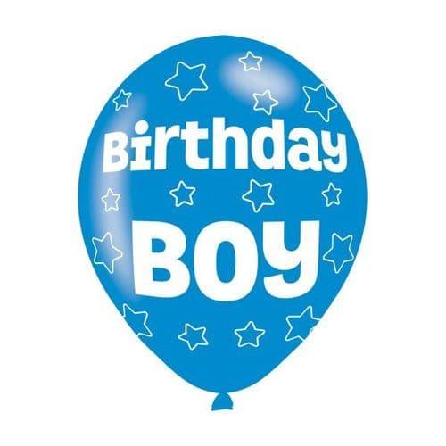 "Birthday Boy Blue Latex Balloons 11"" packet of 6"
