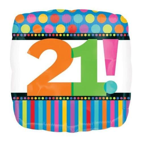 Birthday Dots & Stripes 21st Foil Balloon