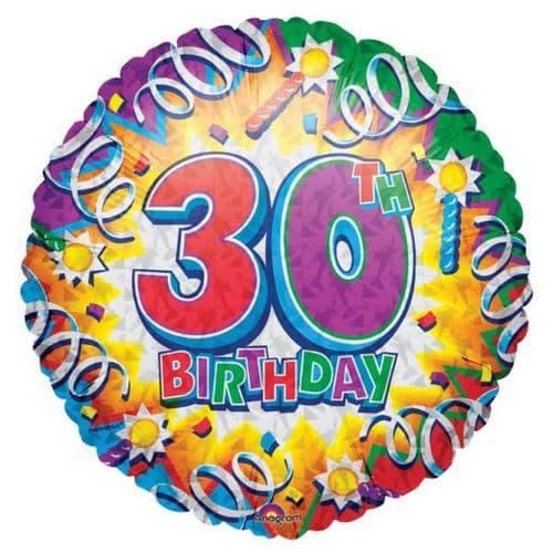 Birthday Explosion 30th Prismatic Foil Balloon